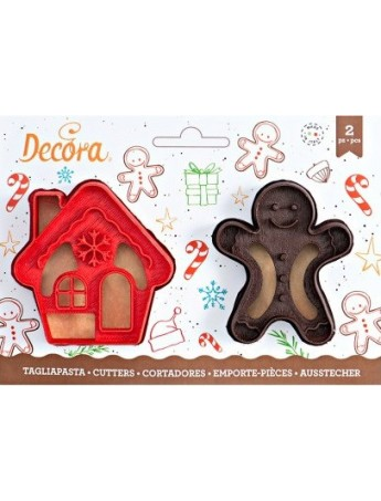 Christmas - Decora 2 cookie cutters - Gingerbread man and house - 0255094