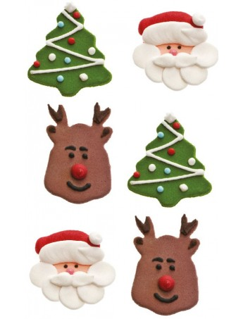 "Sugar decoration ""Christmas subject"" - (tree-Santa-reindeer) Decora 0500351"