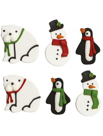 "Sugar decoration ""Christmas subject"" - (snowman-bear-penguin) Decora 0500347"