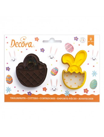 Decora - pastry cutter in plastic basket and bunny