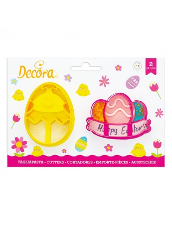 Decora - plastic cutter chick and eggs with festoon
