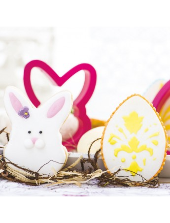 Decora - plastic pastry cutter egg and bunny face